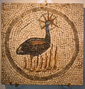 Mosaic featuring the Phoenix, in the ancient Roman city of Aquileia, Italy. Public domain image courtesy of Wikimedia.