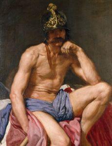 Mars God of War, by Diego Rodriguez de Silva Velazquez (1599-1660), Prado Museum. Public domain image.