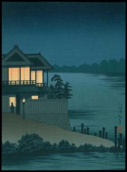Ariakerou at Imado - Lighted House, by Kobayashi Kiyochika (1847-1915). PD-US.