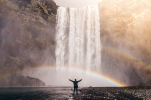 Reveling in the good-juju of a waterfall rainbow. PD image courtesy of Pixabay.