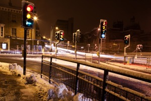Crossroads at night in Winter. PD image courtesy of Public Domain Pictures.