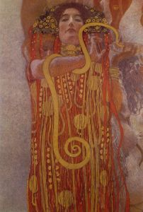 Hygeia (detail), 1900-1907, by Gustav Klimt. PD-US, Wikimedia.