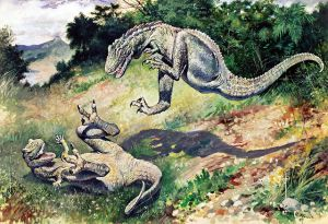 "The 1897 painting of fighting ""Laelaps"" (now Dryptosaurus) by Charles R. Knight. PD-US, Wikimedia."