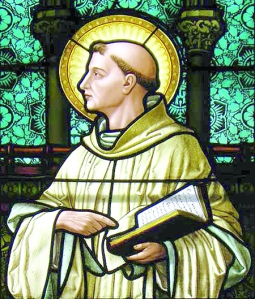 St. Bernard of Clairvaux. Stained glass at St. Louis R.C. in Buffalo, NY.