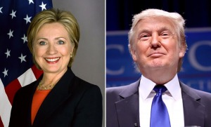 Sec. of State Hillary Clinton and Donald Trump. Wikimedia.