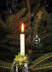 A candle on a Christmas Tree. PD photo from Gerbil; CC-SA, Wikimedia.