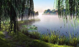 Dawn by the Lake. PD image from hgwallbase.