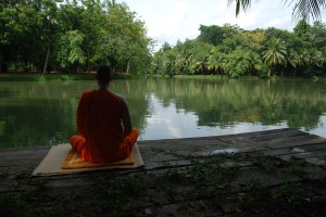 Meditation by the Lake, Thailand, by Nat Sakunworarat. PDpics.