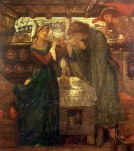 Tristram and Isolde Drinking the Love Potion, 1867, by Dante Rosetti. PD Wikimedia.