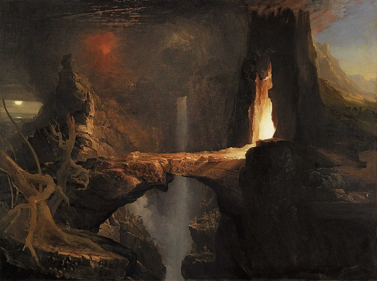 Expulsion – Moon and Firelight, 1828, by Thomas Cole. {{PD-US}}
